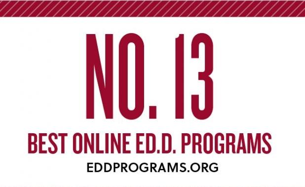 Ranked 13th best online ED.D. programs by eddprograms.org