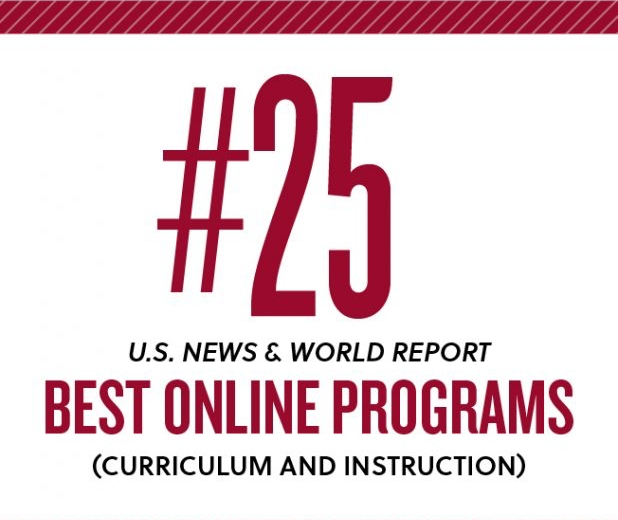 Ranked 25th best online program for cirriculum and instruction by US News and World Report
